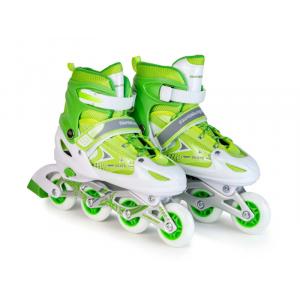Ролики раздвижные: LED, светящ.колесо: размер S (30-33) упак.: пакет прозрачный:зеленые