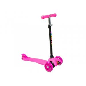 Самокат 3-х колесный нагрузка 25кг, св-ся колеса, micro maxi, h-50/56/60 цв: розовый