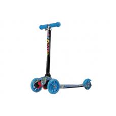 Самокат 3-х колесный (ПРИНТ) нагрузка 25кг, св-ся колеса, micro maxi, h-50/56/60 цв: голубой