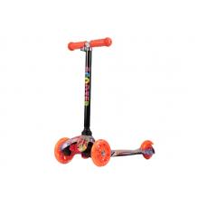 Самокат 3-х колесный (ПРИНТ) нагрузка 25кг, св-ся колеса, micro maxi, h-50/56/60 цв: оранжевый